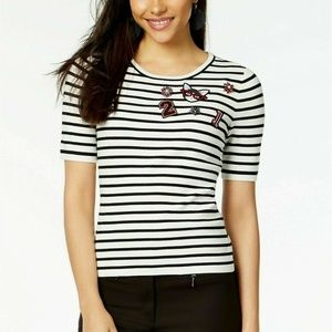 Maison Jules Small Striped Embellished Top 3Y18